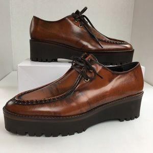 Zara Woman Brown Leather Flat Platform Shoe